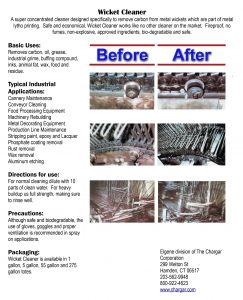 Wicket Cleaner spec sheet