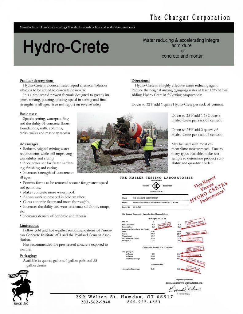Hydro-Crete data