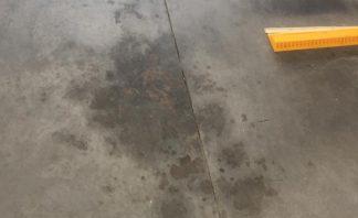 oil soaked concrete